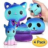 Amteker 4 Stück Kawaii Galaxy Squishies Squeeze Spielzeug - Langsam Dekompression Creme Duftenden Groß Squishy Set für Geschenk Kinder Erwachsene Jungen Mädchen (Einhorn + Katze EIS + Panda + Poo)