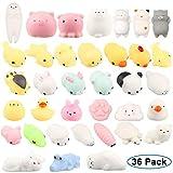 Adkwse Squishy Kawaii Set, 36 Stück Mochi Mini Squishies Mesh Ball Anti Stress Spielzeug für Kinder