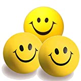 3 x Anti - Stress - Ball Smiley Knautschball Softball Schaumstoffball gelb