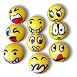 3 x Mr. Smiley Anti - Stress - Ball Knautschball Softball Schaumstoffball gelb